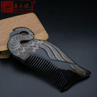 Swan Print Wooden Hair Comb As Shown In Figure - One Size