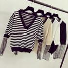 Stripe V-neck Mesh Panel Knit Sweater