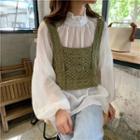 Frilled Trim Chiffon Blouse / Crochet Knit Camisole