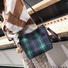 Plaid Fleece Bucket Bag