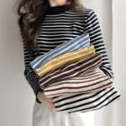 High-neck Long-sleeve Striped Sweater