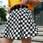 Checkerboard Mini A-line Pleated Skirt