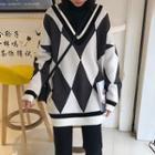 Argyle Sweater Dark Gray - One Size