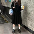 Woolen Jacket / Pleated Mini Skirt