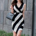 Sleeveless Striped Knit Sheath Dress
