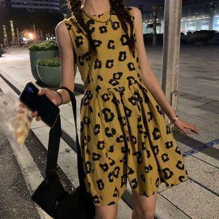 Sleeveless Leopard Print A-line Mini Dress Leopard - One Size