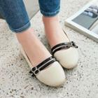 Faux Leather Double Buckle Flats