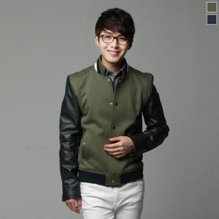 Faux-leather Sleeve Baseball Jacket