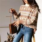 Round-neck Pattern Knit Top Brown - One Size