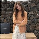 Long-sleeve Slit-front Knit Top