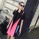 Color Block Notch Lapel Long Vest