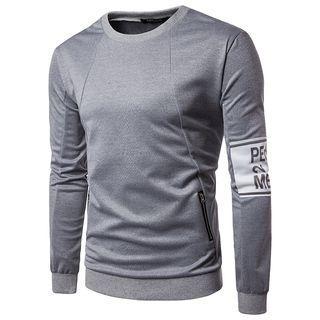 Long Sleeve Zipper Print Top