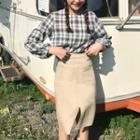 Plaid Blouse / Slit Midi Skirt