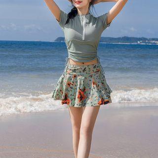 Set: Short-sleeve Half-zip Drawstring Rashguard + Print Swim Skirt
