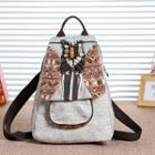 Patterned Canvas Backpack Light Yellow - One Size
