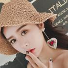 Embroidery Heart Rhinestone Earrings