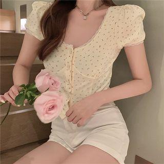Lace-trim Floral Crop Top