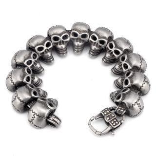 Skull Stainless Steel Bracelet Silver - One Size