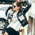 Color Panel Faux Leather Jacket