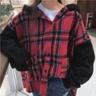 Hooded Plaid Panel Button Jacket