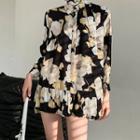Printed Long-sleeve Mini Shirtdress