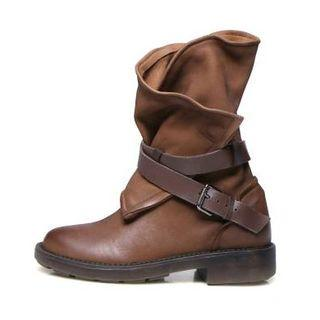 Faux-leather Buckled Short Boots
