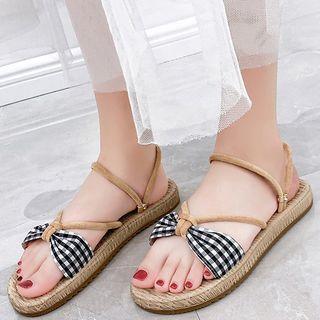 Plaid Fabric Roman Sandals