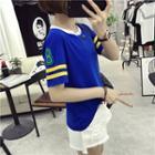 Number Stripe Short-sleeve T-shirt