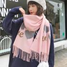 Embroidered Heart Fringed Scarf As Shown In Figure - One Size