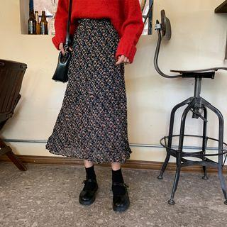 Floral Print Chiffon Skirt Black - One Size