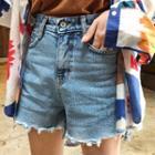 Scallop-hem Distressed Denim Shorts