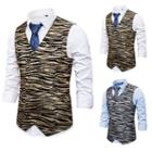Tiger Print Double-breasted Vest