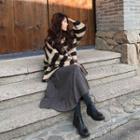 Set: Striped Sweater + Midi Accordion Pleat Skirt