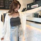 Set: Long-sleeve Shirt + Striped Camisole As Shown In Figure - One Size