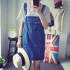 Loose-fit Pocketed Jumper Plain Denim Sleeveless Dress