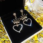 Rhinestone Crown Drop Earrings