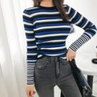 Crewneck Stripe Slim-fit Knit Top