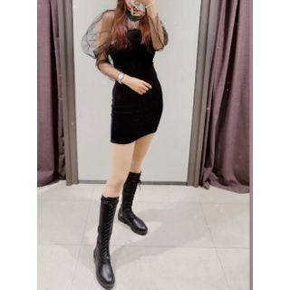 Velvet Panel Bodycon Mini Dress