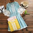 Short-sleeve Lace Trim Floral A-line Dress