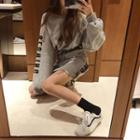 Set: Lettering Pullover + Drawstring A-line Skirt Set - Pullover - Gray - One Size / A-line Skirt - Gray - One Size