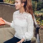 3/4-sleeve Frilled Lace Top With Camisole
