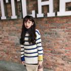Turtleneck Striped Long Sweater