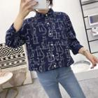 Long-sleeve Cat Printed Blouse