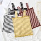 Sleeveless Frilled Striped Knit Top