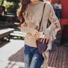 Asymmetrical Ruffle Long-sleeve Knit Top