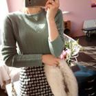 Scallop-hem Pointelle-knit Top