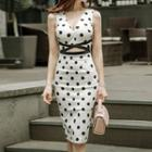 Sleeveless Cutout Dotted Dress