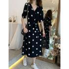 Dotted Chiffon Dress With Sash