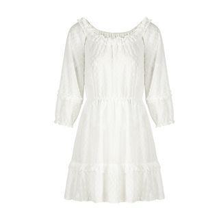 Ruffle Trim Dotted Long-sleeve Mini A-line Dress