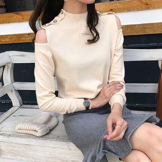 Long-sleeve Mock-neck Cold Shoulder Top
